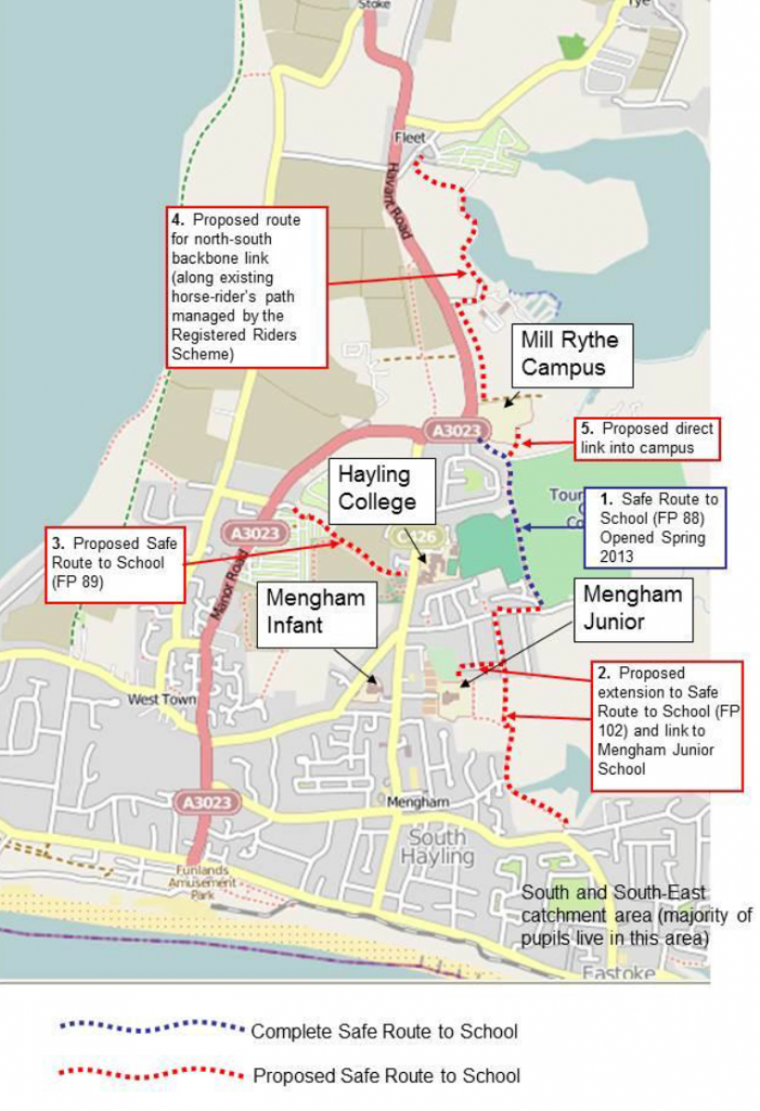 Map showing proposed safe cycle routes
