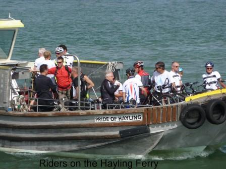 Picture of cyclists on the Hayling Ferry